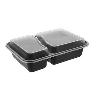 Pactiv Clear-Black 30oz Oblong 2 Compartment Container