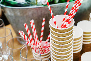 Paper Straws with Coffee Cups