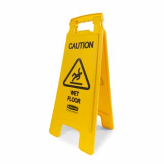 Rubbermaid Floor Sign with 'Caution Wet Floor' imprint, 2 sided